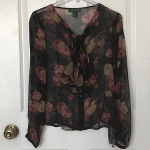 Lauren Ralph Lauren Silk See Through Floral Blouse